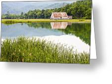 West Virginia Barn Reflected In Pond   Greeting Card