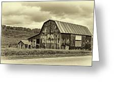 West Virginia Barn Sepia Greeting Card