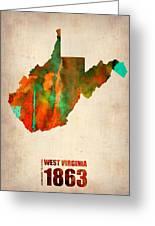 West Virginia Watercolor Map Greeting Card by Naxart Studio