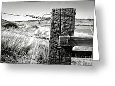 Western Barbed Wire Fence Black And White Greeting Card