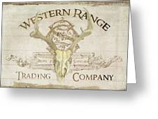 Western Range 3 Old West Deer Skull Wooden Sign Trading Company Greeting Card