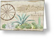 Western Range 4 Old West Desert Cactus Farm Ranch  Wooden Sign Hardware Greeting Card