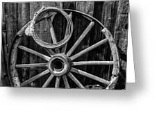 Western Rope And Wooden Wheel In Black And White Greeting Card