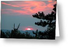 Western Sunset Sun On The Horizon Greeting Card