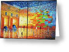 Western Wall Jerusalem Wailing Wall Acrylic Painting 2 Panels Greeting Card