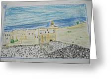 Western Wall.holly Land.color Pencils 1990 Greeting Card