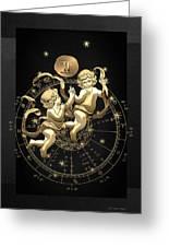 Western Zodiac - Golden Gemini - The Twins On Black Canvas Greeting Card