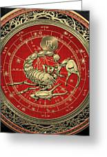 Western Zodiac - Golden Scorpio - The Scorpion On Black Velvet Greeting Card