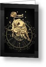 Western Zodiac - Golden Taurus - The Bull On Black Canvas Greeting Card