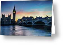 Westminster At Dusk Greeting Card