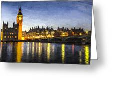 Westminster Bridge And Big Ben Art Greeting Card