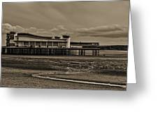 Weston  Super Mare   Outflow  Pier  Black  White Greeting Card