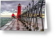 Wet At Grand Haven Greeting Card