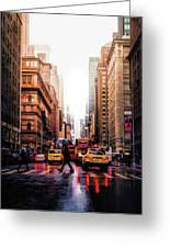 Wet Streets Of New York City Greeting Card