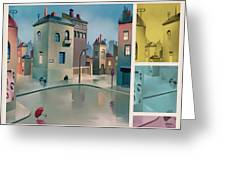 Wet Town Greeting Card