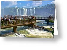 Wet Walkways In The Iguazu River In Iguazu Falls National Park-brazil  Greeting Card