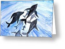 Whale Family On Sun Ray Greeting Card