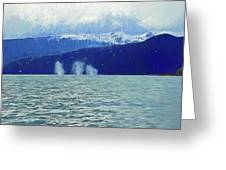 Whales Blowing Greeting Card