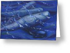 Whales Under The Surface-is That Moby Dick On The Bottom Greeting Card by Tanna Lee M Wells
