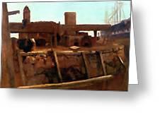 Wharf Scene Greeting Card