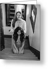 What Awaits At The Bottom Of The Stairwell Greeting Card