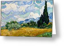 Wheatfield With Cypresses Greeting Card