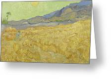 Wheat Field With Reaper At Wheat Fields Van Gogh Series, By Vincent Van Gogh Greeting Card