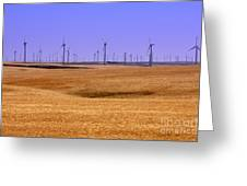 Wheat Fields And Wind Turbines Greeting Card