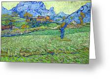 Wheat Fields In A Mountainous Landscape, By Vincent Van Gogh, 18 Greeting Card