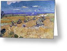 Wheat Fields With Reaper, Auvers Greeting Card