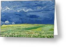 Wheatfield Under Thunderclouds At Wheat Fields Van Gogh Series, By Vincent Van Gogh Greeting Card