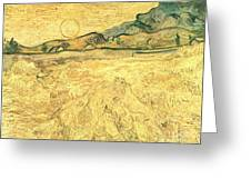Wheatfield With Reaper And Sun Greeting Card