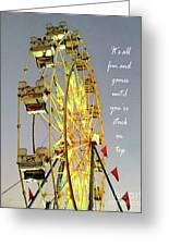 Wheel Of Fortune With Phrase Greeting Card