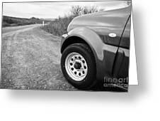 Wheel Of Small 4x4 Vehicle Driving On Gravel Road Onto Main Road Reykjavik Iceland Greeting Card