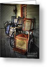 Wheelchairs Of Yesteryear By Kaye Menner Greeting Card