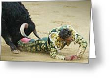 When The Bull Gores The Matador II Greeting Card