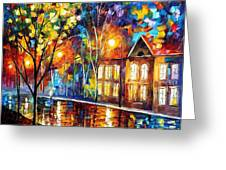 When The City Sleeps 2 - Palette Knife Oil Painting On Canvas By Leonid Afremov Greeting Card