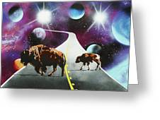 Where The Space Buffalo Roam II Greeting Card