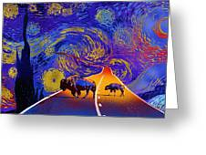Where The Space Buffalo Roam Greeting Card