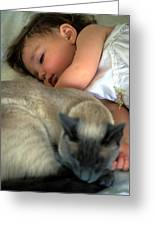 While Baby Sleeps Greeting Card by Kathy Yates