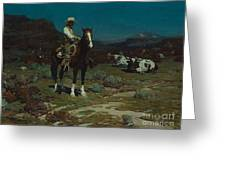 While Trail-weary Cattle Are Sleeping  Greeting Card