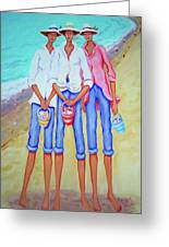 Whimsical Beach Women - The Treasure Hunters Greeting Card
