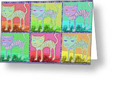 Whimsical Colorful Tabby Cat Pop Art Greeting Card