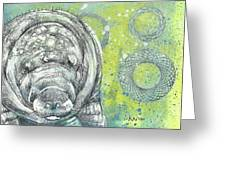 Whimsical Manatee Greeting Card