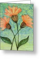 Whimsical Orange Flowers - Greeting Card