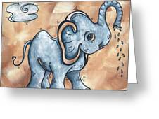 Whimsical Pop Art Childrens Nursery Original Elephant Painting Adorable By Madart Greeting Card