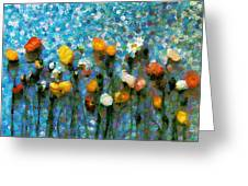 Whimsical Poppies On The Blue Wall Greeting Card