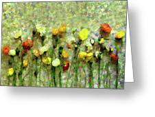 Whimsical Poppies On The Wall Greeting Card