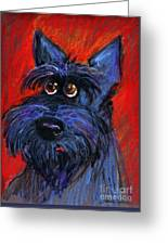 whimsical Schnauzer dog painting Greeting Card