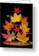 Whirling Autumn Leaves Greeting Card